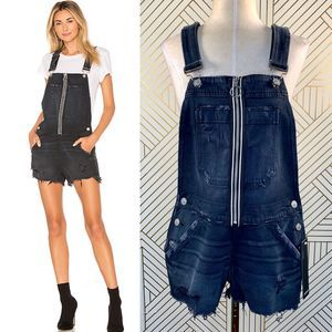 Hudson Jeans Joey Exposed Zip Shortalls in Mayday